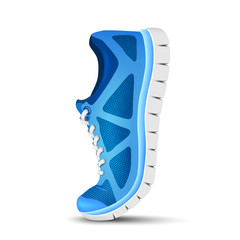 Blue curved sport shoes for running. Vector illustration
