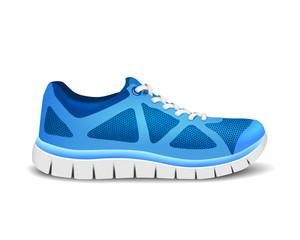 Blue sport shoes for running. Vector illustration