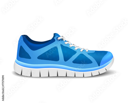 Blue sport shoes for running. Vector illustration - 77571694