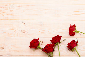 Red roses , Valentines Day wooden background, wedding