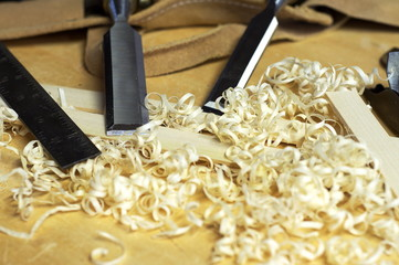 Wood chisels and shavings