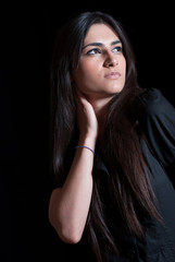 Cute lady in dark studio, nice portrait