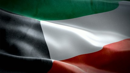 Realistic 3d seamless looping Kuwait flag waving in the wind.