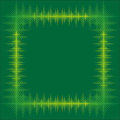 yellow line frame on green background