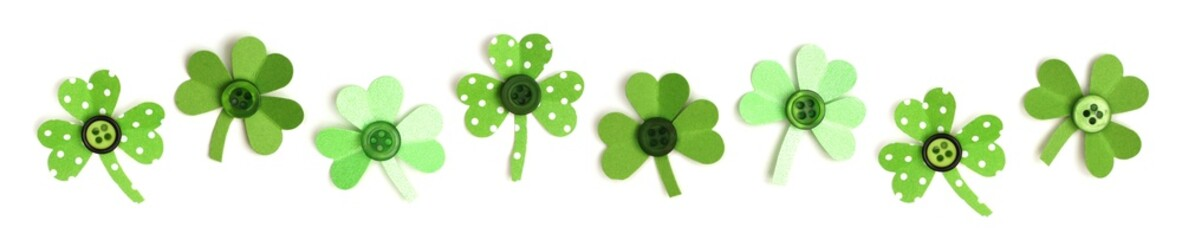 St Patricks Day border of handmade paper and button shamrocks