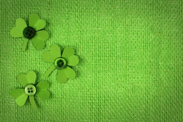 St Patricks Day green burlap with paper shamrocks