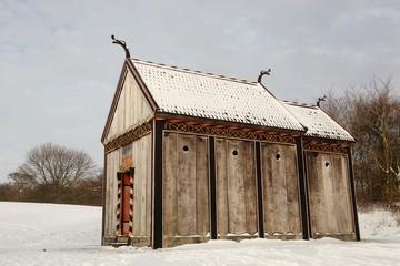 Viking stave church of Moesgaard in Denmark