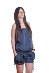 Young beautiful lady with coverall cloth