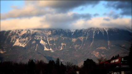Mountains covered with clouds in Slovenia