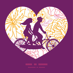 Vector flowers outlined couple on tandem bicycle heart