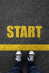 Start on asphalt background