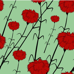 Seamless pattern with carnations