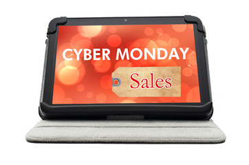Cyber Monday Specials sale shopping sign on black tablet device