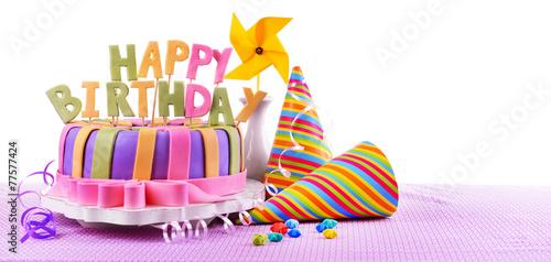 Fotobehang Bakkerij Delicious birthday cake on table on white background