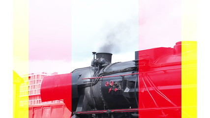 Close up shot of the steam locomotive with some smoke exiting the chimeney and with added color bars effect