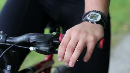 HD1080p: Close up of a man's hand holding handlebar on a bike