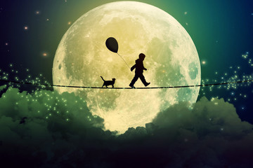teenager and cat walking with balloon on tight rope above clouds