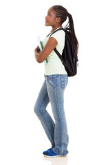 side view of young african college girl