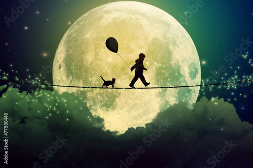teenager and cat walking with balloon on tight rope above clouds - 77580448