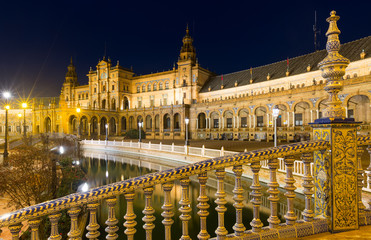 midnight  view of  Plaza de Espana. Seville, Spain