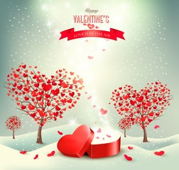 Valentine background with heart shaped trees. Vector.