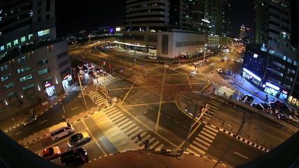 aerial time lapse city traffic at Dubai