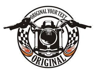 motorcycle flag circle emblem