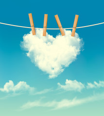 Valentine background with a heart shaped cloud. Vector.