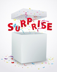 Surprise message box with confetti