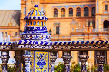 Tiles fence  at Plaza de Espana