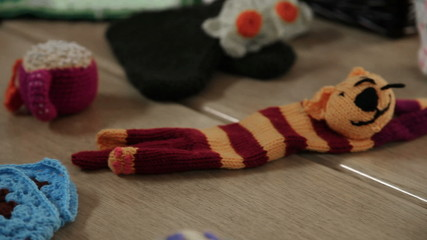Video showing knitting products from old ladies