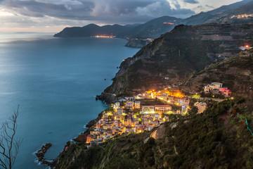 Riomaggiore and Cinque Terre coastline, Liguria, Italy