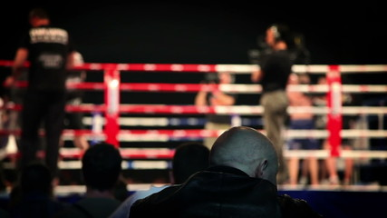 Shot of audience watching fight in ring