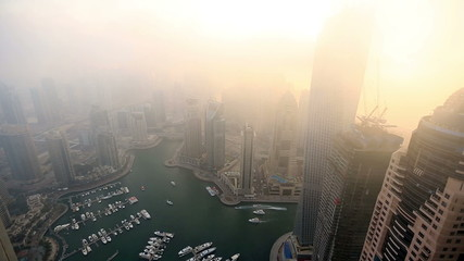 time lapse aerial view foggy weather Dubai