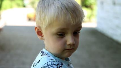 Close up of sad child's face