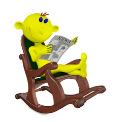 Yellow men reads the newspaper