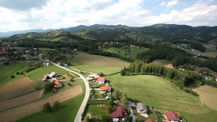 HD heli shot of a small village