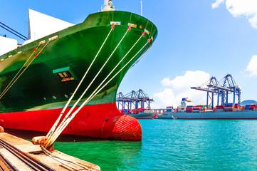 sea port and cranes