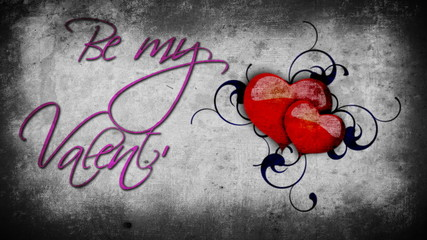 Animated purple Be my Valentine sign with beating hearts on the grey wall background