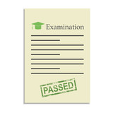 Examination paper with passed stamp poster