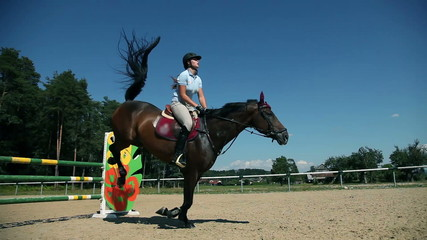 Woman jockey jumping over obstacles
