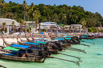 Longtail boats in tropical paradise