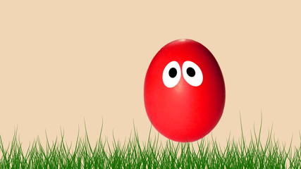Animated red egg jumping for Easter