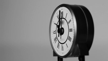 Beautiful detail of black and white antique clock