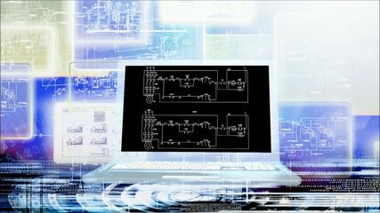 Industrial engineering computer designing.Animation