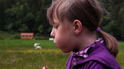 Shot of little girl blowing dandelion's blossom