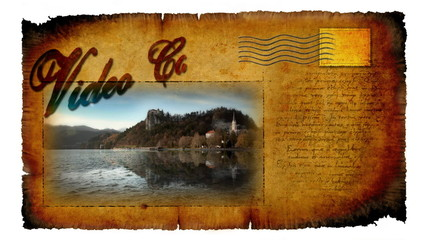 Animated video card with moving picture of castle in Bled in Slovenia