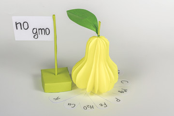 """paper pear with vitamin and card with words """"no gmo"""""""