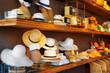 A wide range of hats in shop