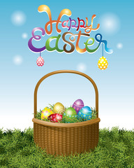 Easter Eggs in Basket and Hanging Eggs